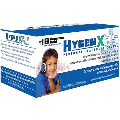 "HamiltonBuhl HygenX 2.5"" Disposable Sanitary Ear Cushion Covers for On-Ear Headphones and Headsets (Blue, 600 Pairs)"