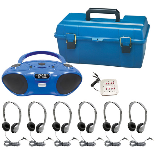 HamiltonBuhl HB-100BT Bluetooth/CD/FM Listening Center with 6 MS2L Personal Headphones