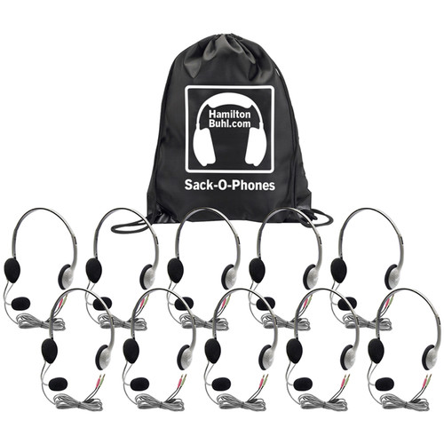 HamiltonBuhl Sack-O-Phones HA2M Personal Headphones with Microphone (10-Pack)