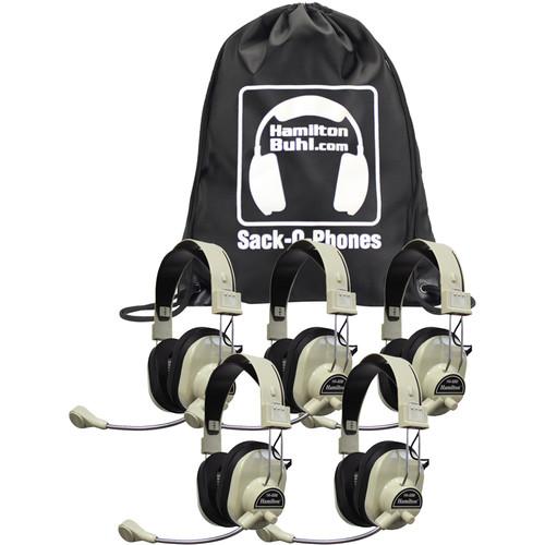 HamiltonBuhl Sack-O-Phones 5 x HA-66M Deluxe Multimedia Headphones with Microphone