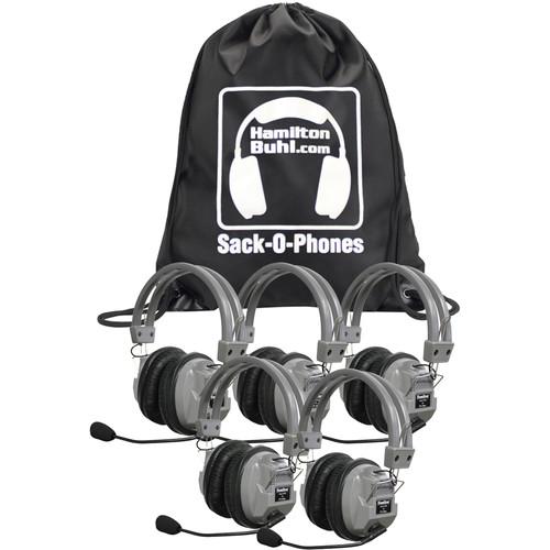 HamiltonBuhl Sack-O-Phones 5 x HA7M Deluxe Multimedia Headphones with Microphone