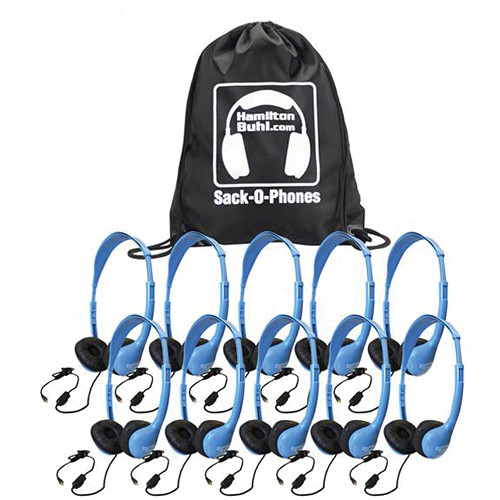 HamiltonBuhl Sack-O-Phones MS2AMV Personal Headphones with Microphone (10-Pack)