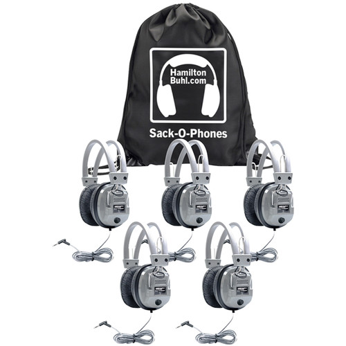 HamiltonBuhl Sack-O-Phones 5 x SC-7V Deluxe Headphones with Leatherette Ear Cushions & Volume Control