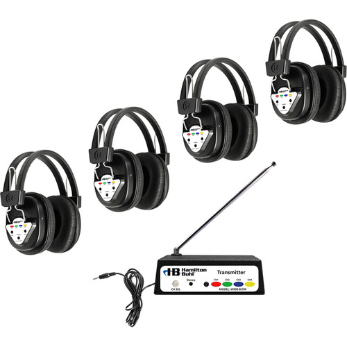 HamiltonBuhl W4-BT 4-Station Bluetooth Wireless Listening Center with Variable-Frequency Transmitter and 4 Headphones