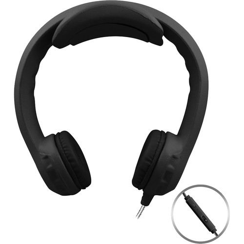 HamiltonBuhl Flex-PhonesXL On-Ear Headphones for Teens with In-Line Microphone (Black)