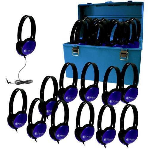 HamiltonBuhl Lab Pack of Primo Student Headphones (Set of 24, Blue)