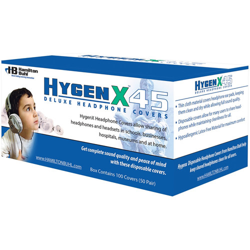 """HamiltonBuhl HygenX 4.5"""" Disposable Sanitary Ear Cushion Covers for Over-Ear Headphones and Headsets (Black, 50 Pairs)"""
