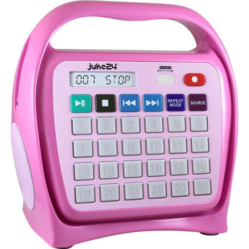HamiltonBuhl Juke24 Portable Digital Jukebox with CD Player and Karaoke Function (Pink)