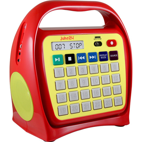 HamiltonBuhl Juke24 Portable Digital Jukebox with CD Player and Karaoke Function (Red and Yellow)
