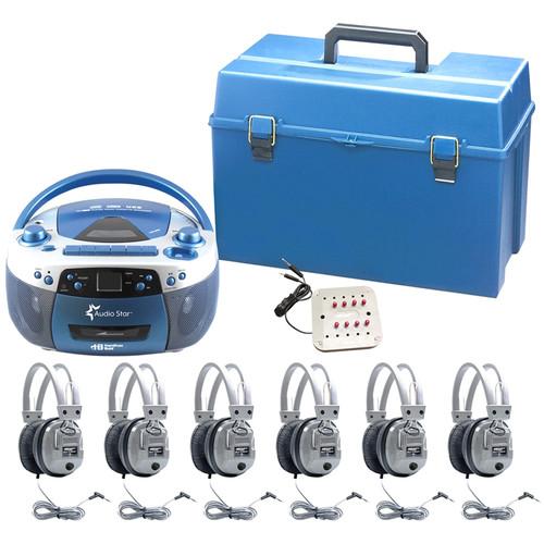 HamiltonBuhl AudioStar MEGA 6-Station Listening Center with USB/CD/Cassette/Radio, CD/Tape-to-MP3 Converter & 6 Deluxe Headphones