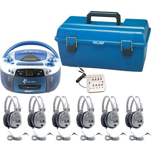 HamiltonBuhl AudioStar ALPHA 6-Station Listening Center with USB/CD/Cassette/Radio, CD/Tape-to-MP3 Converter & 6 Deluxe Headphones