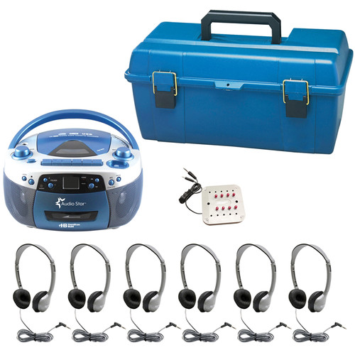 HamiltonBuhl AudioStar ELITE 6-Station Listening Center with USB/CD/Cassette/Radio, CD/Tape-to-MP3 Converter & 6 Personal Headphones with Washable Leatherette Ear Cushions