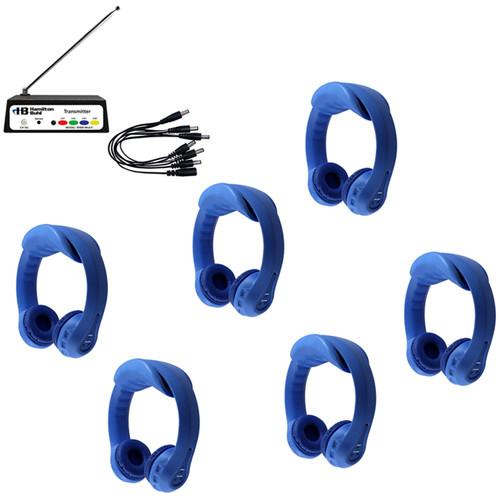 HamiltonBuhl Flex-PhonesAF 6 Person Wireless Listening Center (Blue)