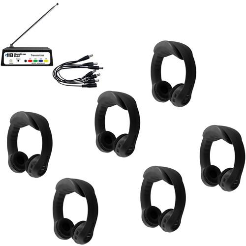 HamiltonBuhl Flex-PhonesAF 6 Person Wireless Listening Center (Black)