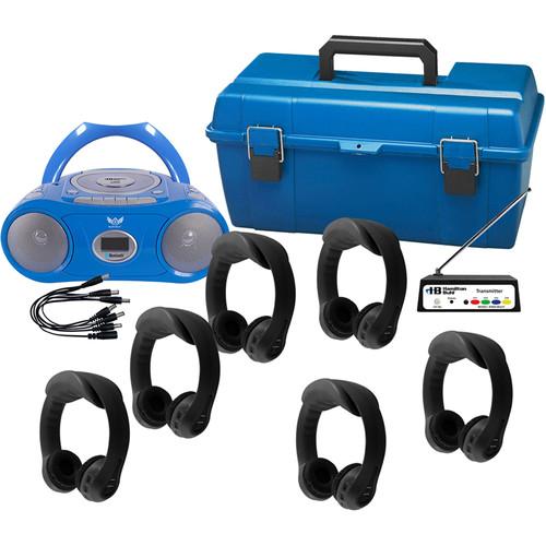 HamiltonBuhl Flex-PhonesAF 6 Person Wireless Listening Center with AudioAce Boombox (Black)