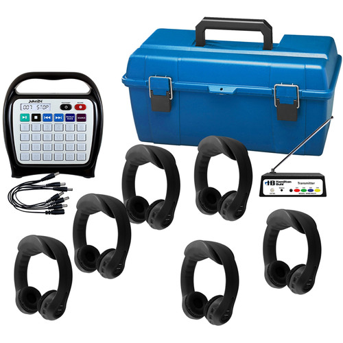 HamiltonBuhl Wireless Listening Center 6 Black Headphones,MultiTransmitter,ChargeCable,J22RCS1SB,LCP Storage Case