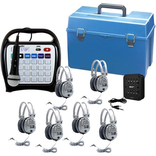 HamiltonBuhl Juke24 MEGA 6-Station Listening Center with Juke24, 6 Deluxe Headphones & 8-Position Jackbox (Black)
