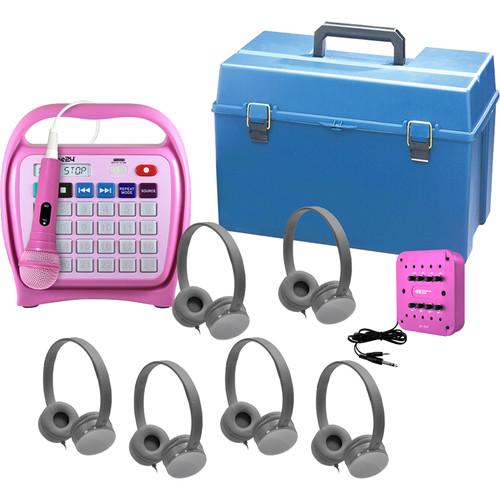 HamiltonBuhl Juke24 KidzPhonz 6-Station Listening Center with 6 KidzPhonz Originalz Headphones, Juke24, & 8-Position Jackbox
