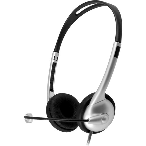 HamiltonBuhl Multimedia USB Headset with Gooseneck Microphone, In-Line Volume Control, and Soft Leatherette Ear Cushions