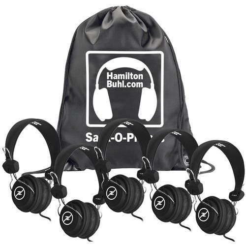 HamiltonBuhl Sack-O-Phones Favoritz Student Headphones with In-Line Microphones (Set of 5, Black)