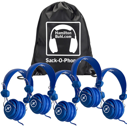 HamiltonBuhl Sack-O-Phones Favoritz Student Headphones with In-Line Microphones (Set of 5, Blue)
