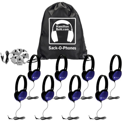 HamiltonBuhl Sack-O-Phones - 8 Primo - Prm100 Blue Headphones, 1 Jbp8Va Jackbox In Carry Bag