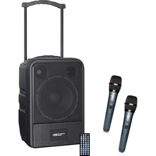 HamiltonBuhl VENU100W Water-Resistant Portable PA System with USB/Bluetooth and 2 Wireless Handheld Mics