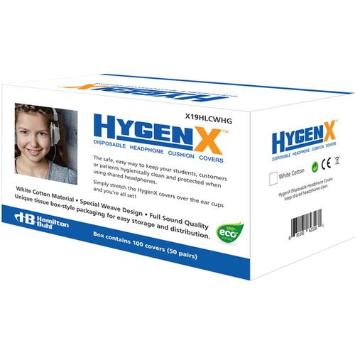 """HygenX 3.75"""" Disposable Cotton Ear Cushion Covers for Deluxe Headphone & Headset (50-Pair, White)"""