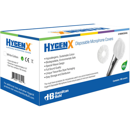 HygenX Sanitary Disposable Cotton Microphone Covers (Box of 100, White)