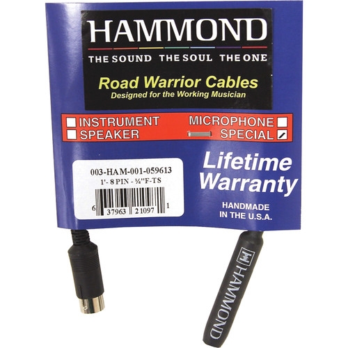 "Hammond 8-Pin to 1/4"" Female TS Adapter (6"")"