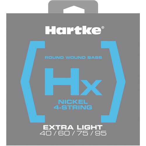 Hartke HX440 Nickel Round Wound Electric Bass Guitar Strings (4-String Set, Extra Light, 40 - 95)