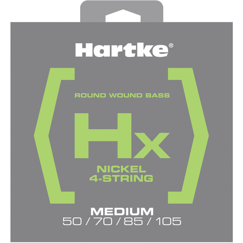 Hartke HX450 Nickel Round Wound Electric Bass Guitar Strings (4-String Set, Medium, 50 - 105)