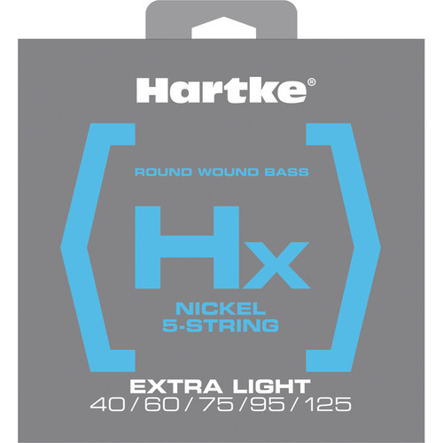 Hartke HX540 Nickel Round Wound Electric Bass Guitar Strings (5-String Set, Extra Light, 40 - 125)