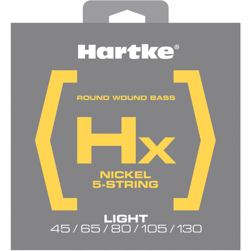 Hartke HX545 Nickel Round Wound Electric Bass Guitar Strings (5-String Set, Light, 45 - 130)