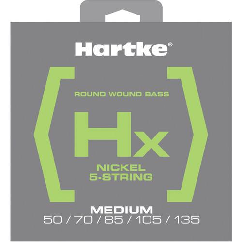 Hartke HX550 Nickel Round Wound Electric Bass Guitar Strings (5-String Set, Medium, 50 - 135)