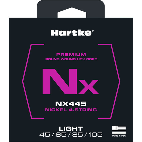 Hartke NX445 Nickel-Plated Round Wound Electric Bass Guitar Strings (4-String Set, Light, 45 - 105)