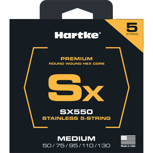 Hartke SX550 Stainless Round Wound Electric Bass Guitar Strings (5-String Set, Medium, 50 -130)
