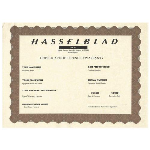 Hasselblad 1-Year Extended Warranty for H4D-50