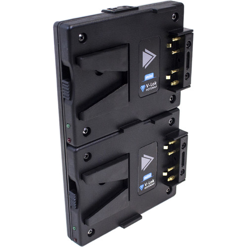 Hawk-Woods Gold Mount to Mini V-Lok Battery Dual Hot-Swap Plate with 2 powerCON Ports