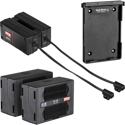 Hawk-Woods Two 14.4V Sticky Battery Packs, 2-Channel Charger & QR Plate (75W)