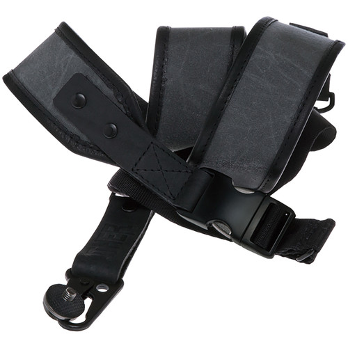 Heavy Leather NYC Wax Slingshot Canvas & Leather Camera Strap (Charcoal)