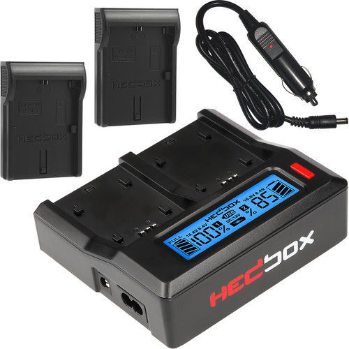 Hedbox RP-DC50 Dual Digital LCD Battery Charger Kit with RP-DLPE6 Battery Plates