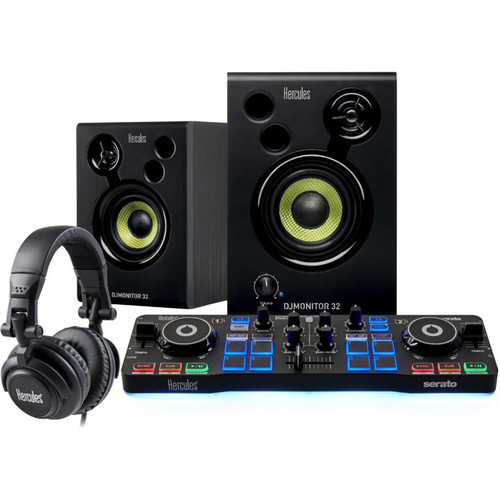Hercules DJStarter Kit with DJControl Starlight, DJMonitor 32, HDP DJ M40.1 Headphones, & Serato DJ Lite