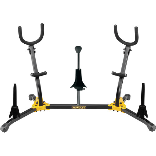 HERCULES Stands Double Alto/Tenor Saxophone Stand with Pegs for One Soprano Sax & Two Flutes/Clarinets