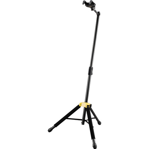 HERCULES Stands Auto Grip System AGS Single Guitar Stand with Foldable Yoke (Black)