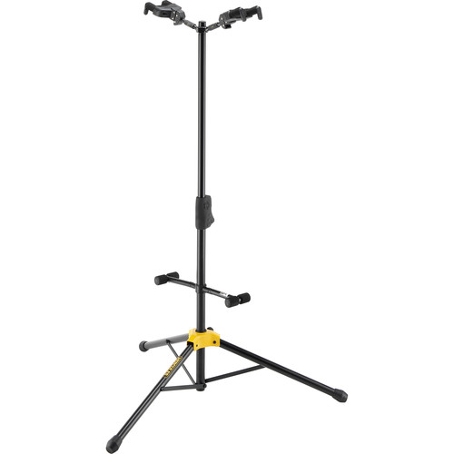 HERCULES Stands Auto Grip System AGS Duo Guitar Stand with Foldable Backrest (Black)