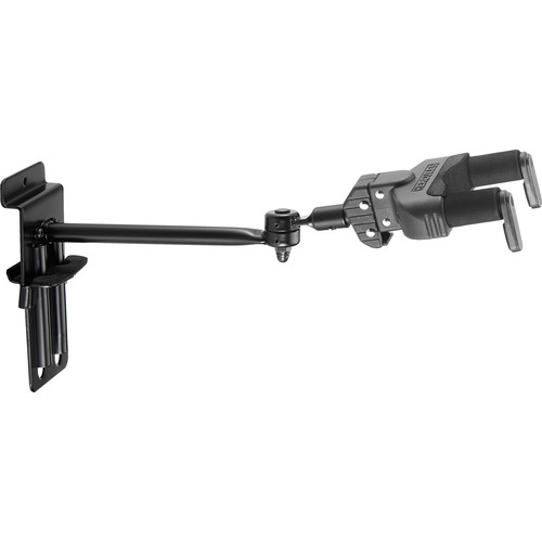 HERCULES Stands GSP50SB Auto-Swivel, Auto-Grip Yoke Hanger for Guitar/Bass (Adjustable Slatwall Mount, Long Arm)