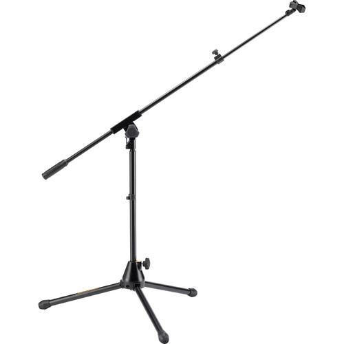 HERCULES Stands Low-Profile Tripod Microphone Stand with Telescopic Boom