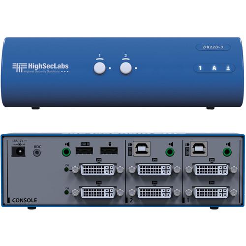 High Sec Labs DK22D-3 Secure Dual Head 2-Port DVI-I Video KVM Switch