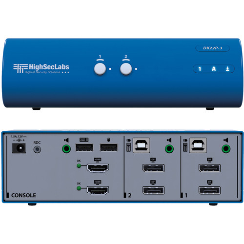 High Sec Labs DK22P-3 Secure Dual Head 2-Port DisplayPort to HDMI Video KVM Switch